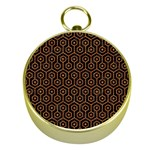 HEXAGON1 BLACK MARBLE & RUSTED METAL (R) Gold Compasses Front