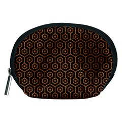 Hexagon1 Black Marble & Rusted Metal (r) Accessory Pouches (medium)