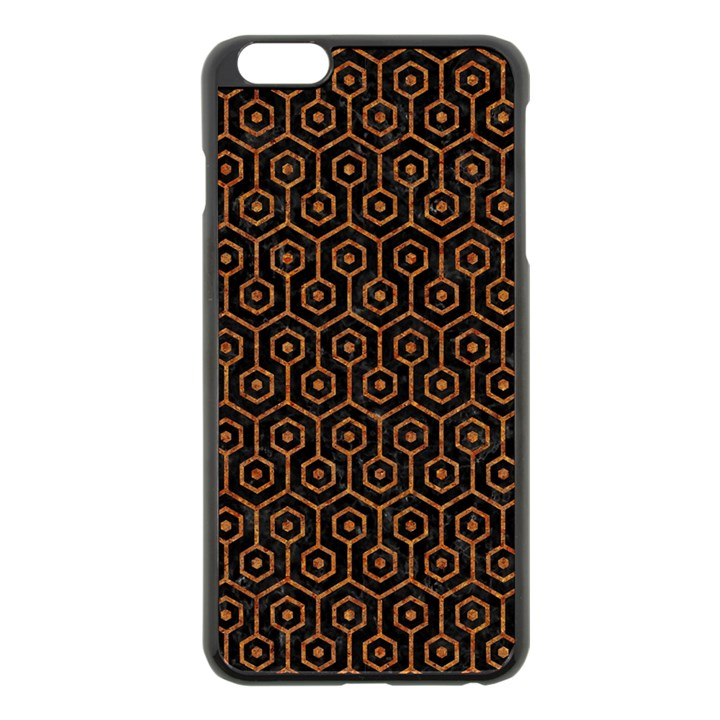 HEXAGON1 BLACK MARBLE & RUSTED METAL (R) Apple iPhone 6 Plus/6S Plus Black Enamel Case