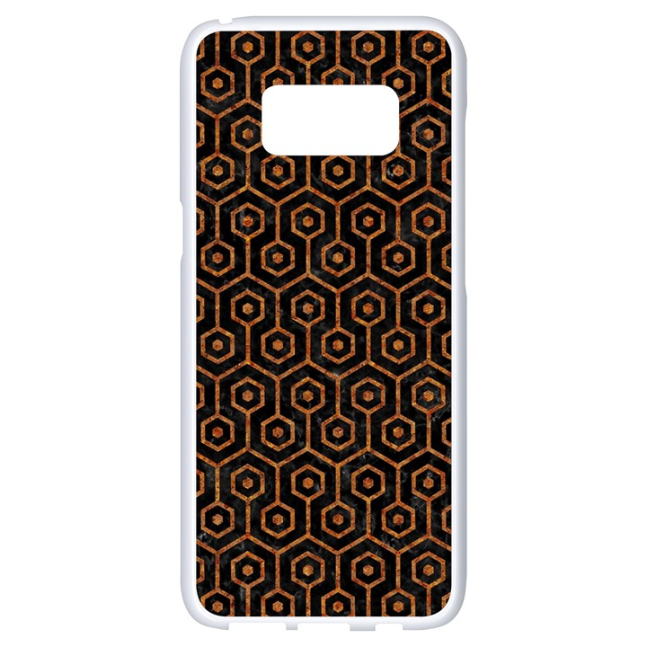 HEXAGON1 BLACK MARBLE & RUSTED METAL (R) Samsung Galaxy S8 White Seamless Case