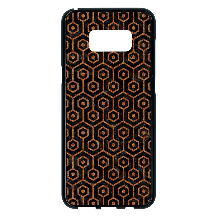 HEXAGON1 BLACK MARBLE & RUSTED METAL (R) Samsung Galaxy S8 Plus Black Seamless Case
