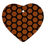 HEXAGON2 BLACK MARBLE & RUSTED METAL Ornament (Heart) Front