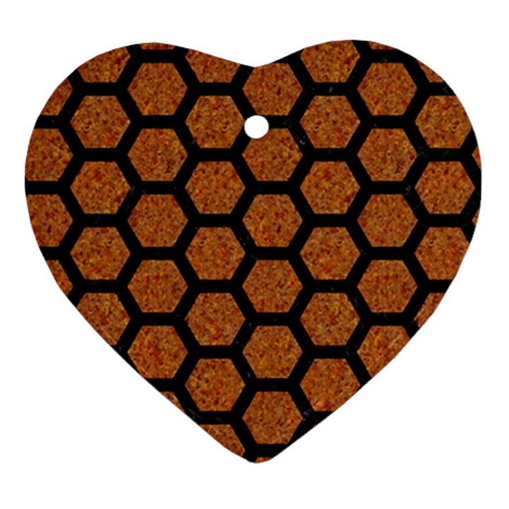 HEXAGON2 BLACK MARBLE & RUSTED METAL Ornament (Heart)