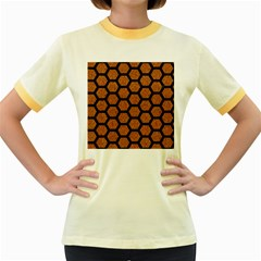 Hexagon2 Black Marble & Rusted Metal Women s Fitted Ringer T Shirts