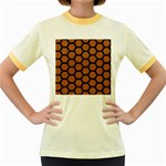 HEXAGON2 BLACK MARBLE & RUSTED METAL Women s Fitted Ringer T-Shirts Front