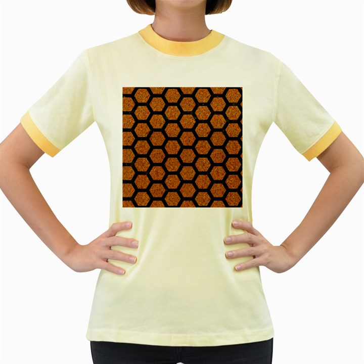 HEXAGON2 BLACK MARBLE & RUSTED METAL Women s Fitted Ringer T-Shirts