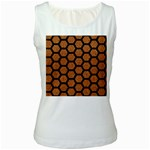 HEXAGON2 BLACK MARBLE & RUSTED METAL Women s White Tank Top Front