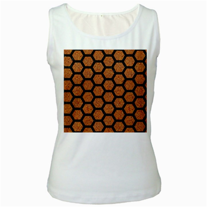 HEXAGON2 BLACK MARBLE & RUSTED METAL Women s White Tank Top