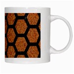 HEXAGON2 BLACK MARBLE & RUSTED METAL White Mugs Right