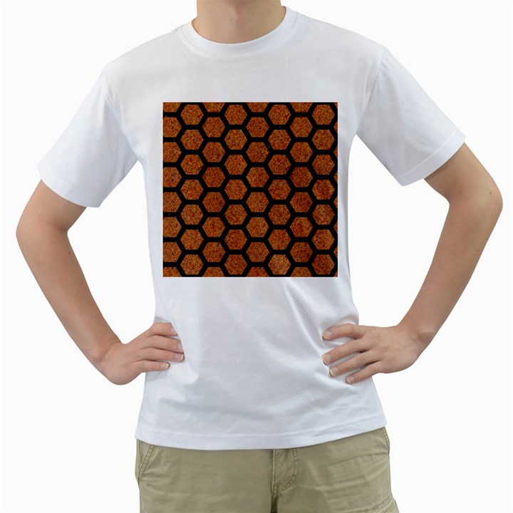 HEXAGON2 BLACK MARBLE & RUSTED METAL Men s T-Shirt (White) (Two Sided)