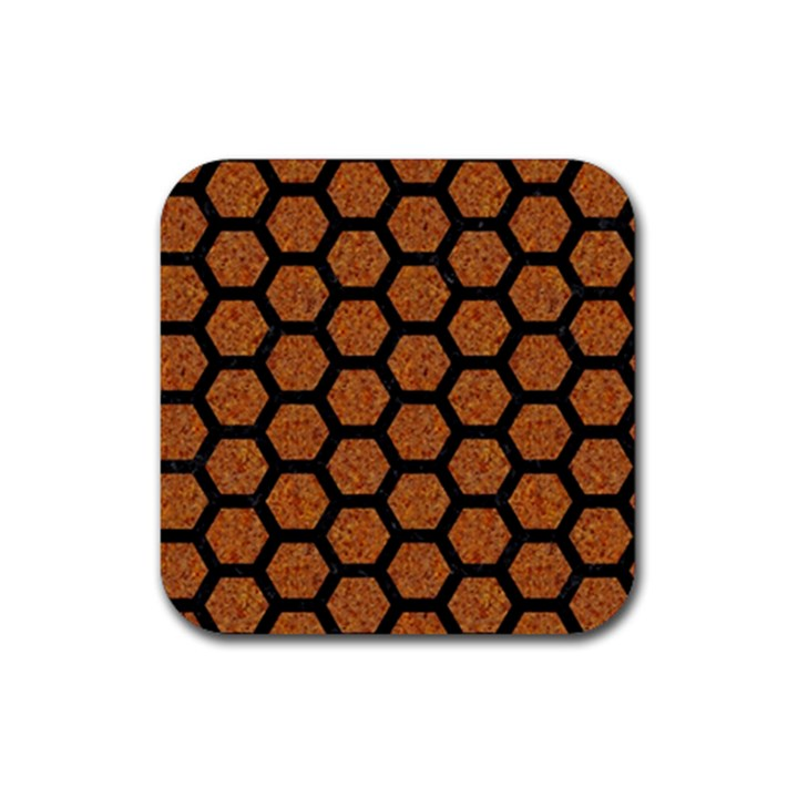 HEXAGON2 BLACK MARBLE & RUSTED METAL Rubber Coaster (Square)