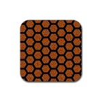 HEXAGON2 BLACK MARBLE & RUSTED METAL Rubber Square Coaster (4 pack)  Front