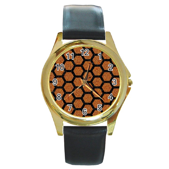 HEXAGON2 BLACK MARBLE & RUSTED METAL Round Gold Metal Watch