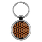 HEXAGON2 BLACK MARBLE & RUSTED METAL Key Chains (Round)  Front