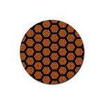 HEXAGON2 BLACK MARBLE & RUSTED METAL Rubber Coaster (Round)  Front
