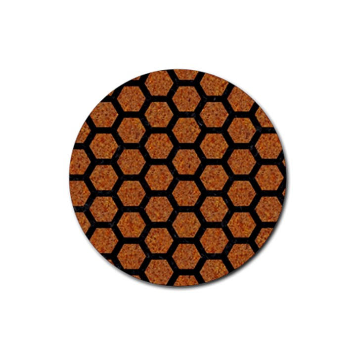 HEXAGON2 BLACK MARBLE & RUSTED METAL Rubber Coaster (Round)