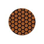 HEXAGON2 BLACK MARBLE & RUSTED METAL Magnet 3  (Round) Front