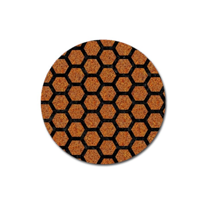 HEXAGON2 BLACK MARBLE & RUSTED METAL Magnet 3  (Round)