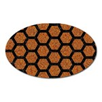 HEXAGON2 BLACK MARBLE & RUSTED METAL Oval Magnet Front