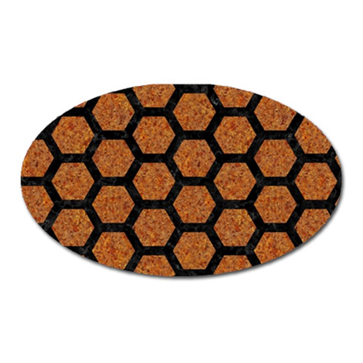 HEXAGON2 BLACK MARBLE & RUSTED METAL Oval Magnet