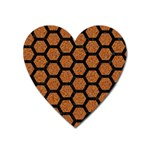 HEXAGON2 BLACK MARBLE & RUSTED METAL Heart Magnet Front