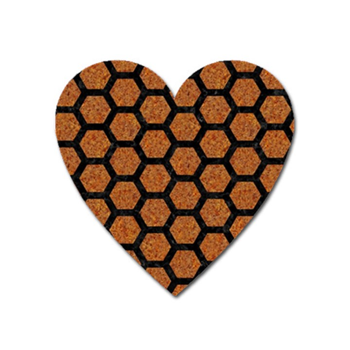HEXAGON2 BLACK MARBLE & RUSTED METAL Heart Magnet