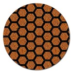 HEXAGON2 BLACK MARBLE & RUSTED METAL Magnet 5  (Round) Front