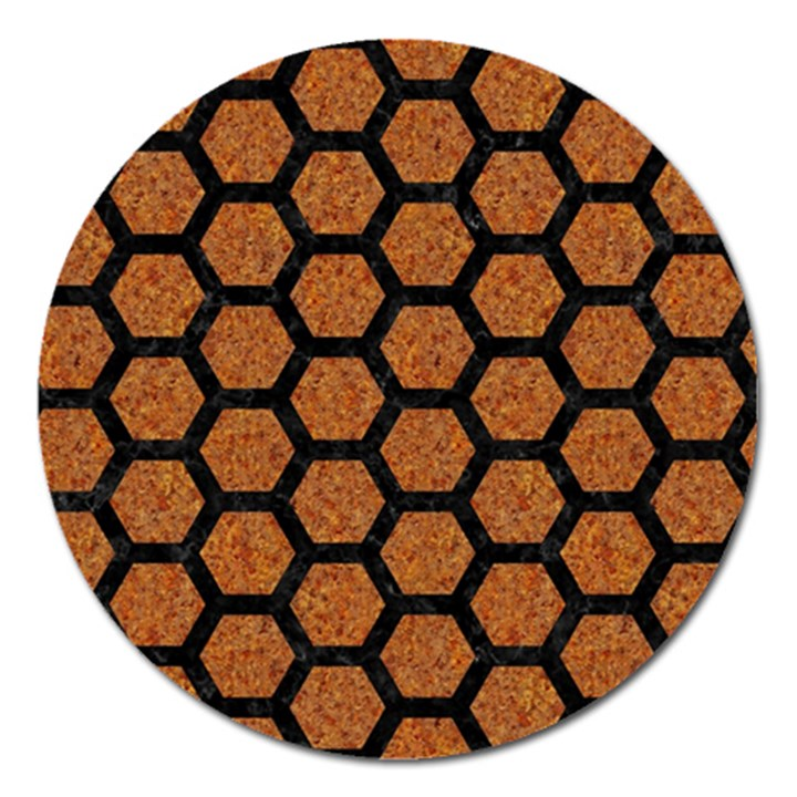 HEXAGON2 BLACK MARBLE & RUSTED METAL Magnet 5  (Round)
