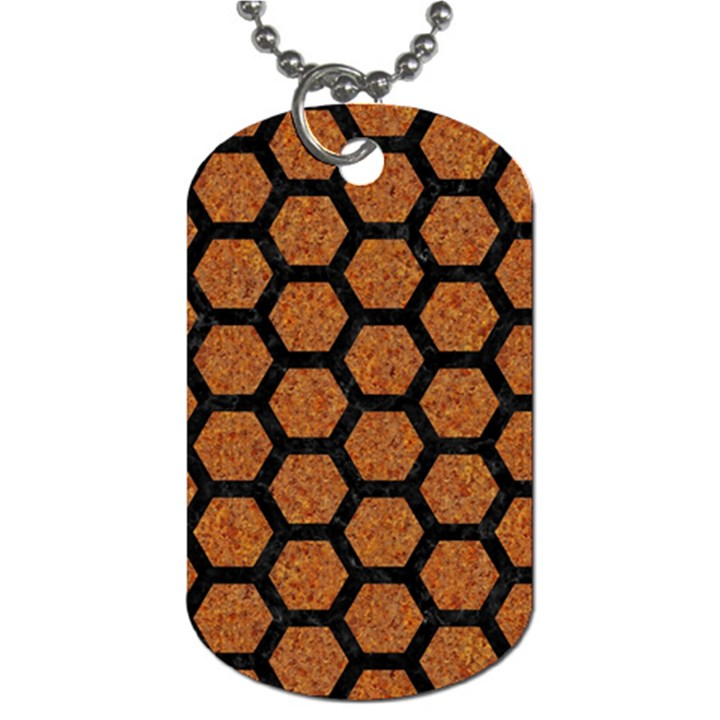 HEXAGON2 BLACK MARBLE & RUSTED METAL Dog Tag (One Side)