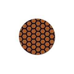 Hexagon2 Black Marble & Rusted Metal Golf Ball Marker (4 Pack)