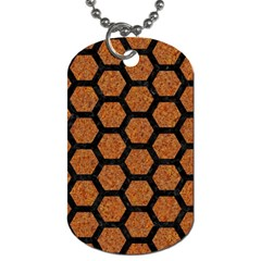 Hexagon2 Black Marble & Rusted Metal Dog Tag (two Sides)