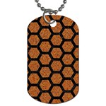 HEXAGON2 BLACK MARBLE & RUSTED METAL Dog Tag (Two Sides) Front