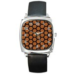 HEXAGON2 BLACK MARBLE & RUSTED METAL Square Metal Watch Front