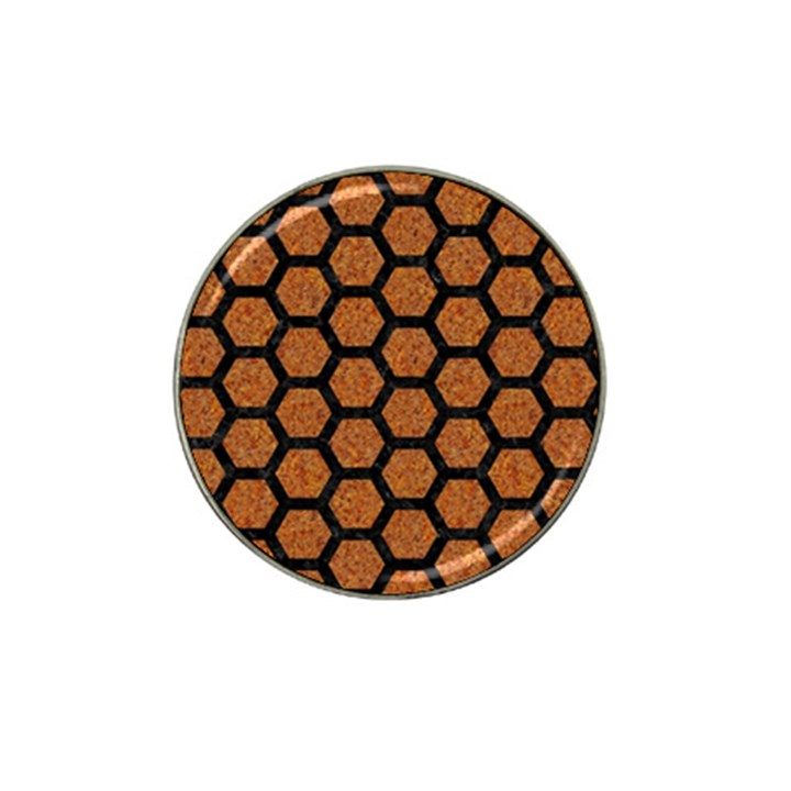 HEXAGON2 BLACK MARBLE & RUSTED METAL Hat Clip Ball Marker