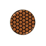 HEXAGON2 BLACK MARBLE & RUSTED METAL Hat Clip Ball Marker (10 pack) Front