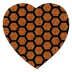 Hexagon2 Black Marble & Rusted Metal Jigsaw Puzzle (heart)