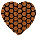 HEXAGON2 BLACK MARBLE & RUSTED METAL Jigsaw Puzzle (Heart) Front