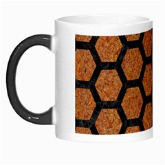 Hexagon2 Black Marble & Rusted Metal Morph Mugs
