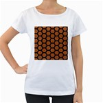 HEXAGON2 BLACK MARBLE & RUSTED METAL Women s Loose-Fit T-Shirt (White) Front
