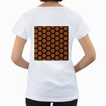 HEXAGON2 BLACK MARBLE & RUSTED METAL Women s Loose-Fit T-Shirt (White) Back