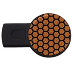 HEXAGON2 BLACK MARBLE & RUSTED METAL USB Flash Drive Round (4 GB) Front