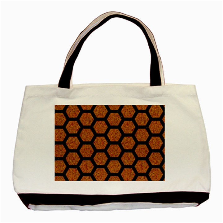 HEXAGON2 BLACK MARBLE & RUSTED METAL Basic Tote Bag