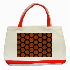 Hexagon2 Black Marble & Rusted Metal Classic Tote Bag (red)