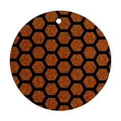 Hexagon2 Black Marble & Rusted Metal Round Ornament (two Sides)
