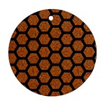 HEXAGON2 BLACK MARBLE & RUSTED METAL Round Ornament (Two Sides) Front