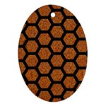 HEXAGON2 BLACK MARBLE & RUSTED METAL Oval Ornament (Two Sides) Front