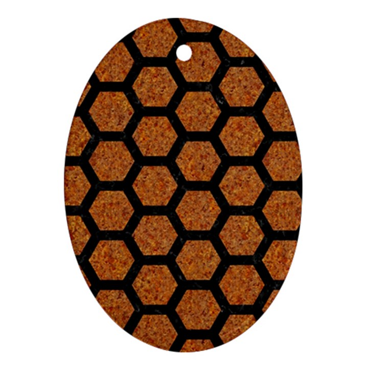 HEXAGON2 BLACK MARBLE & RUSTED METAL Oval Ornament (Two Sides)