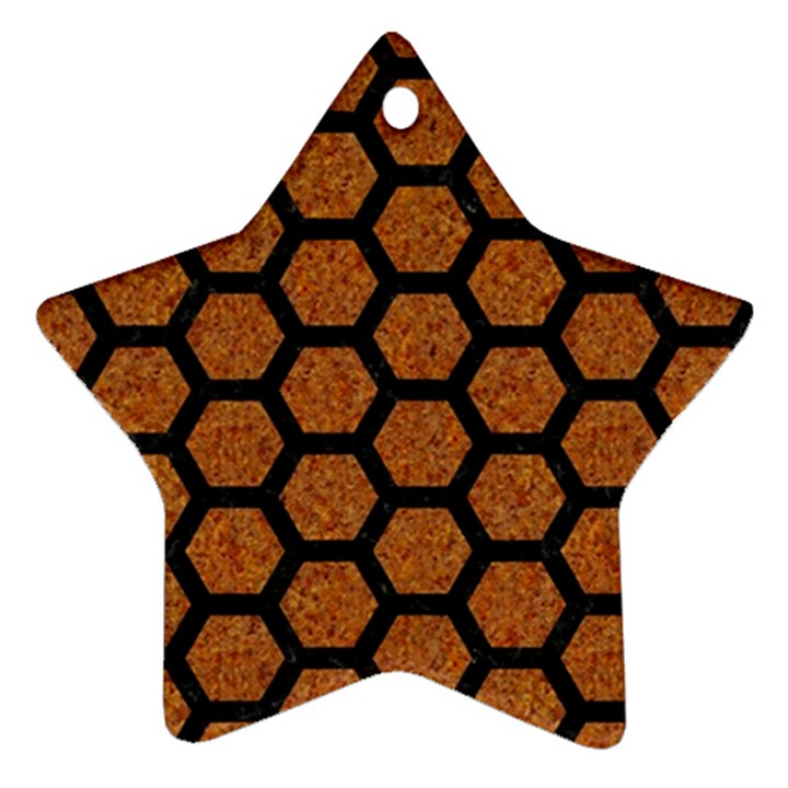 HEXAGON2 BLACK MARBLE & RUSTED METAL Star Ornament (Two Sides)