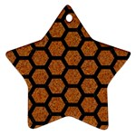 HEXAGON2 BLACK MARBLE & RUSTED METAL Star Ornament (Two Sides) Back