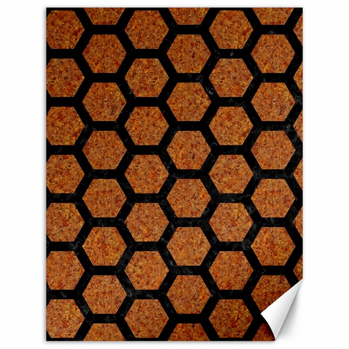 HEXAGON2 BLACK MARBLE & RUSTED METAL Canvas 12  x 16